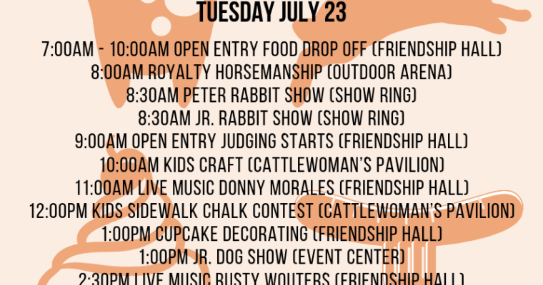 Tuesday 7/23 Fair Events