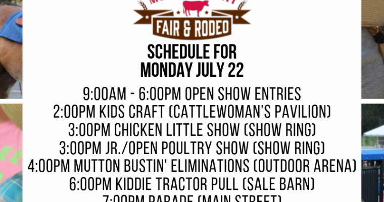 Monday 7/22 Fair Events