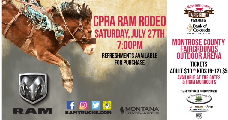 CPRA Ram Rodeo Saturday 7/27 at 7pm