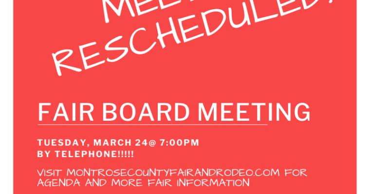 Fair Board Meeting 3/24 by Phone